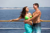 adorable young couple on a cruise holiday