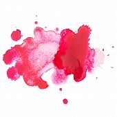 Abstract watercolor aquarelle hand drawn red drop splatter stain art paint on white background Vecto