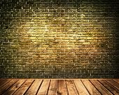 picture of backround  - Old dark brick wall and wooden floor backround - JPG