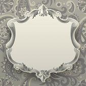 Vintage frame against a  decorative seamless pattern background. Vector illustration