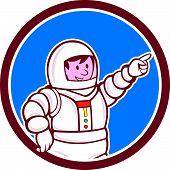 Astronaut Pointing Front Circle Cartoon