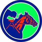 Horse Jockey Racing Circle Retro