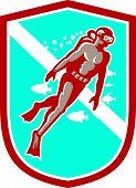 Scuba Diver Diving Going Up Shield Retro