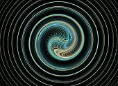 Endless azure fractal spiral woven from thin strings based on the dark