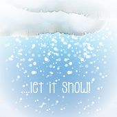Watercolour snow cloud with snowflakes and the slogan 'Let it Snow'. EPS10 vector format.