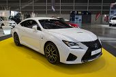 VALENCIA, SPAIN - DECEMBER 4, 2014: A 2015 white Lexus RC F sports car at the Valencia Automovil 2014 Car Show. The RC  F is a high performance car manufactured by Lexus, Toyota's luxury division.