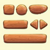 stock photo of oblong  - Set of cartoon wooden buttons with different shapes - JPG
