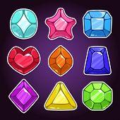 Set of cartoon colorful jewels