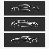 Set of modern car silhouettes.