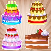 stock photo of strawberry  - 3 sweet cakes for holiday and one piece of chocolate cake with strawberries and cream - JPG