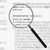 stock photo of nouns  - Focus On Recovery Dictionary Definition 3D Illustration - JPG