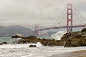 Golden Gate bridge from the beach, San Francisco