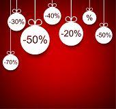 Set of red sale christmas balls background. Vector illustration.