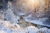 Winter landscape of snow covered forest and flowing stream after winter snowstorm glowing in warm sunshine. Ontario, Canada.