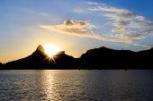 Sunset Lagoon Rodrigo De Freitas (lagoa), Sun Behind Mountain, Rio De Janeiro