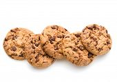 Chocolate cookies isolated on white background cutout