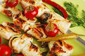 fresh roast shish kebab on green platter with vegetables