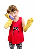 Little Girl In Rubber Gloves