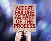 Accept Failure As Part Of The Process written on colorful background with defocused lights