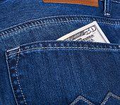 Dollars Money In Jeans Pocket