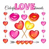 Set Of Pink Glass Love Elements