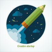Flat design modern startup concept