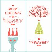Christmas greeting card for design cafe with tree, plug and new