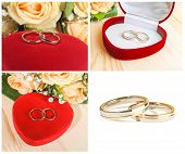 Wedding Rings, Heart Shaped Box  And Flowers