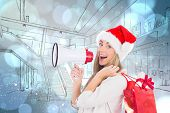 Festive blonde holding megaphone and bags against light glowing dots design pattern