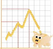 Piggy bank moneybox with business financial graph
