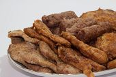 Served Fried Meat On The Plate