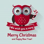 foto of owls  - Merry Christmas and Happy New Year - JPG