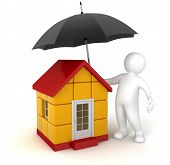 Man with Umbrella and House (clipping path included)