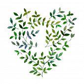 Floral heart. Hand Drawn vintage floral elements.