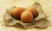 Organic eggs on sack and brown paper background.
