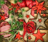 Christmas Decorations Wooden Stars And Red Ribbons For Gifts Wrapping