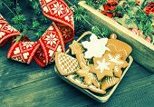 Christmas Ornaments And Gingerbread Cookies. Retro Style