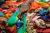 stock photo of batik  - Asian shop for colorful and soft fabrics batik - JPG
