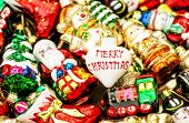 Christmas Tree Decorations Baubles, Toys And Colorful Ornaments