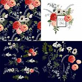 Set of pattern, bouquets and flowers.