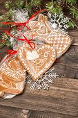 Handmade Gingerbread Cookies With Christmas Decorations