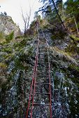 Iron Ladder On Mountain Wall