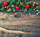 Christmas Ornamets And Green Pine Branches