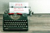 Typewriter With White Paper Page. New Year's Resolutions