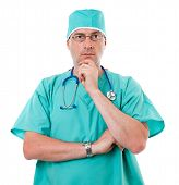 Surgeon In Green Scrubs