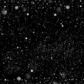 Dark Background With Falling Snow Effect. Abstract Black White Backdrop