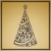 vintage christmas tree card