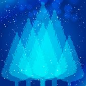 Christmas forest with layers effect