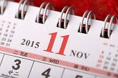 Macro Chinese Calendar 2015 - November with Chinese number word