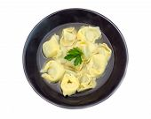 Tortellini in broth from above